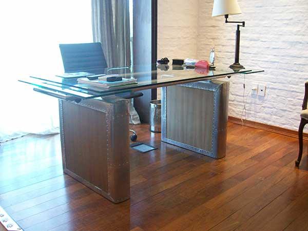 Escritorio con tapa de vidrio tato zumaran - Mesa madera y vidrio ...