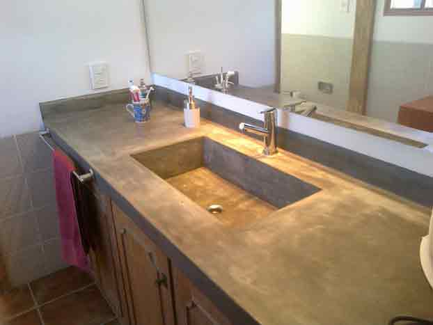 Bachas Para Baño De Cemento:Mesada de Cemento lustrado con bacha y zocalo en misma pieza